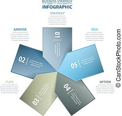 5 options Business Infographics strategy tags design elements template blue color tone