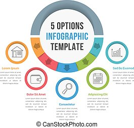 5 Options Infographic Template