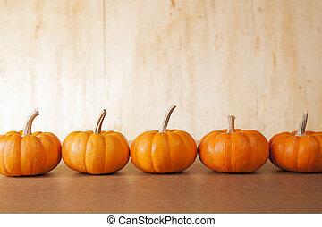 5 Orange Pumpkins In A Row - Five orange pumpkins sit in a...
