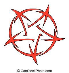 5- předmět, hvězda, ilustrace, pentagram, čepobití, -, vektor