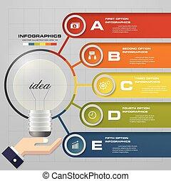 5, pasos, process., simple&editable, diseño abstracto,...