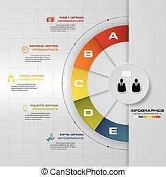 5, passos, infographic, relatório, modelo