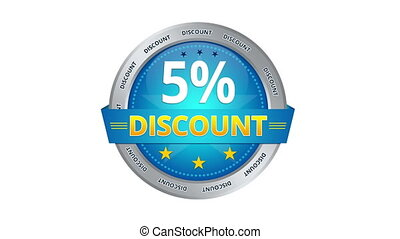 5 percent Discount - Blue Animated 5 percent discount icon