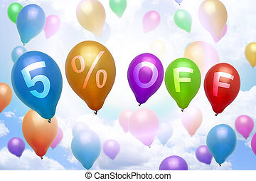 5 percent off discount balloon colorful balloons