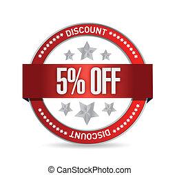 5 percent off seal illustration design