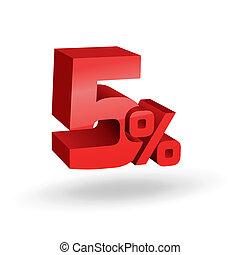 5, percento, illustrazione