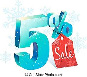 5, percento, inverno, spento, vendita