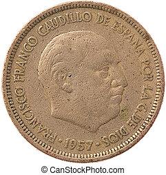 "5 ""pesetas"" spanish coin isolated on white"