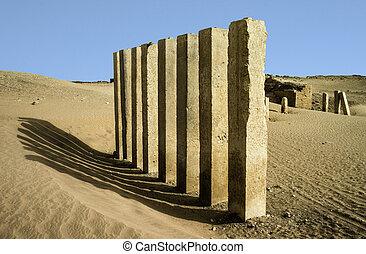 5, pilares, de, lua, templo, perto, marib