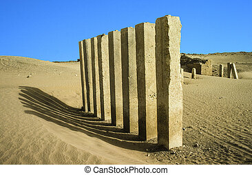 5, pilares, de, lua, templo, perto, marib, yemen