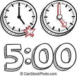 5, pm, fim, de, trabalho, esboço
