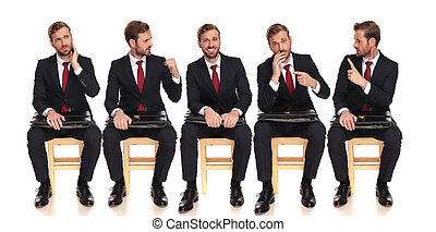 5 poses of a businessman talking to himself while waiting