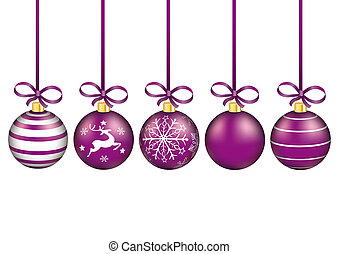 5 Purple Christmas Baubles Red Ribbons