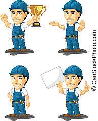 5, réparateur, mascotte, technicien, ou