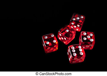 5 red dice in a corner