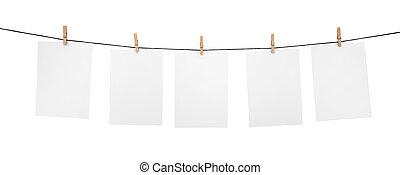 5, schoonmaken, bladen, clothesline