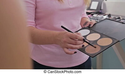 5 shots. Professional make-up artist applying makeup on the face of the beautiful young sensual model