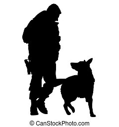 5, silhouette, chien, police