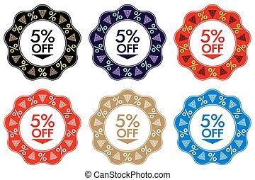 5%, spento, scontare, sticker., set, di, bandiera, disegno, con, 5%, spento
