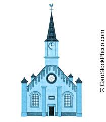 5, sphère, église, coupure, illustration