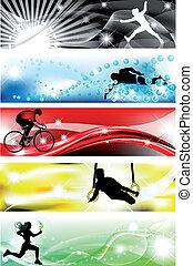5, sport, bandiera, con, cinque, brillante, colori