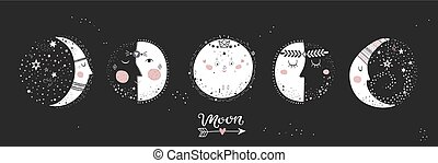 5 stages of the moon. - Moon phases, characters image on...
