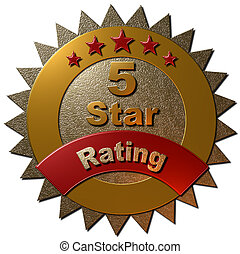 5 Star Rating Seal - A 3D gold and red metallic seal with 5 ...