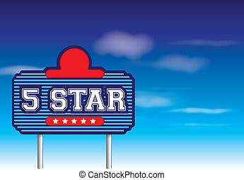 5 star sign in retro vintage roadside advertising style