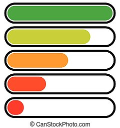 5-step progress, load bars in sequence. Step, phase, level, completion indicator