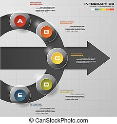 5 steps design clean number banners