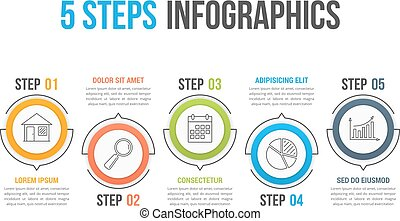 5 Steps Infographics - Infographic template with five steps...