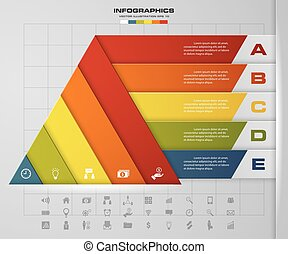 5 steps presentation char in pyramid shape. graphic or website layout. EPS10