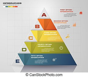 5 steps presentation char in pyramid shape graphic or website