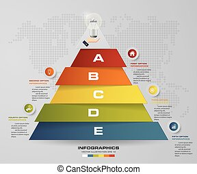 5 steps pyramid with free space for text on each level. infographics, presentations or advertising.