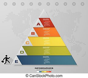 5 steps pyramid with free space for text on each level