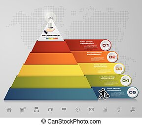 5 steps pyramid with free space for text on each level.