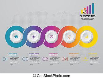 5 steps timeline infographic element.