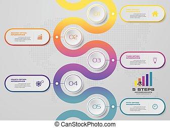 5 steps timeline infographic element. EPS 10.