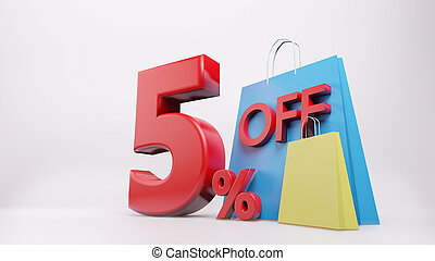 5% symbol with shopping bag , 3D render isolated background