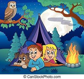 5, tema, immagine, campeggio