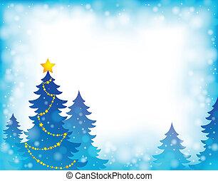 5, tema, silueta, árvore natal