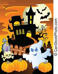 5, thema, de scène van halloween