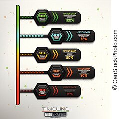 5, timeline, infographic, steg, element