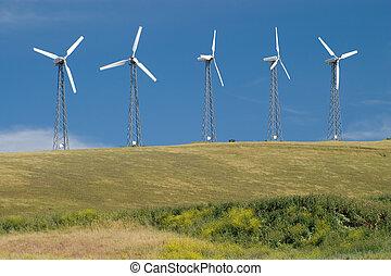 5 Turbines - Five wind turbines generating green wind...
