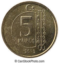 5 Turkish kurus coin, 2013, back