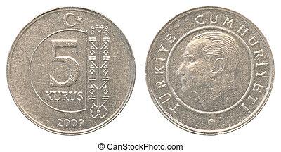 5 turkish kurush coin
