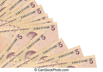 5 Turkish liras bills lies isolated on white background with copy space stacked in fan close up. Payday time concept or financial operations