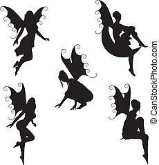 5 Vector Fairy Silhouettes - Set of 5 vector Fairy ...