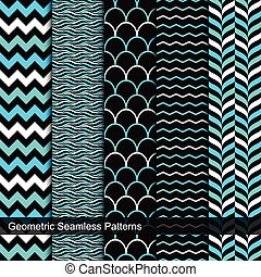 Vector seamless geometric patterns.