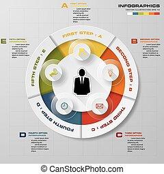 5, vektor, infographics, design, steg